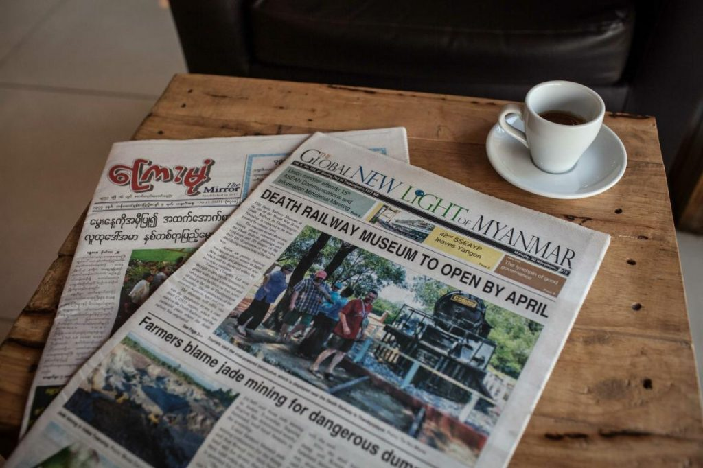 Since the February 1 coup, nearly every independent newspaper has folded, leaving print readers largely with state-run publications such as Kyemon and the Global New Light of Myanmar (pictured). (Frontier)