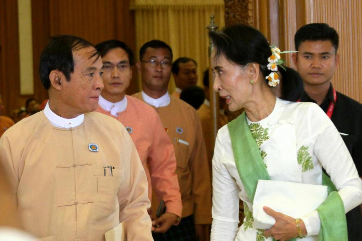 President U Win Myint and State Counsellor Daw Aung San Suu Kyi, both are whom were arrested by the military in the early hours of this morning. (AFP)
