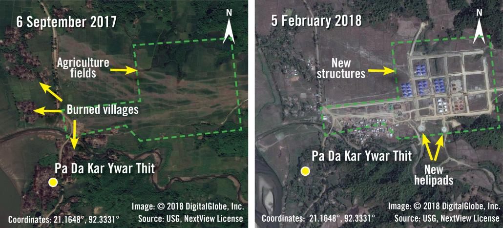 Before and after images taken on September 6, 2017 and February 5 of new structures and helipads being built over agricultural fields in Pa Da Kar Ywar Thit village. (AFP | Amnesty International | DigitalGlobe)