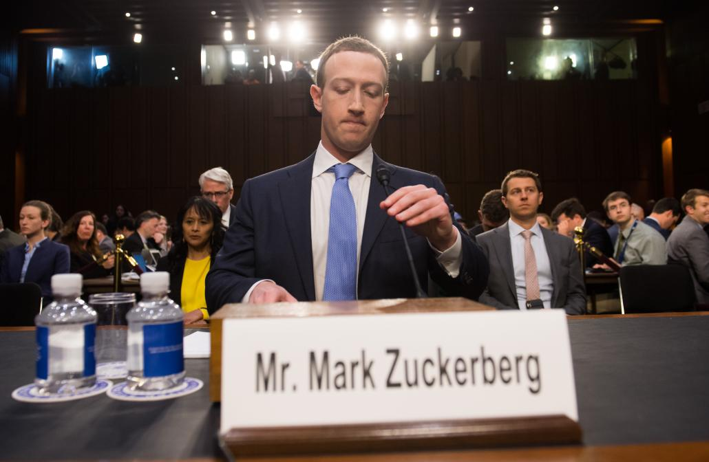 Facebook founder and CEO Mark Zuckerberg prepares to testify to a Senate committee joint hearing about Facebook on Capitol Hill in Washington on April 10, 2018. (AFP)