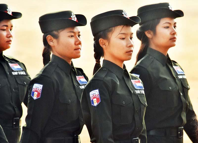 Women of the Karen National Police Force march in the parade to mark Karen Revolution Day in Ko Yaw Lay, Kayin State. (Steve Tickner | Frontier)