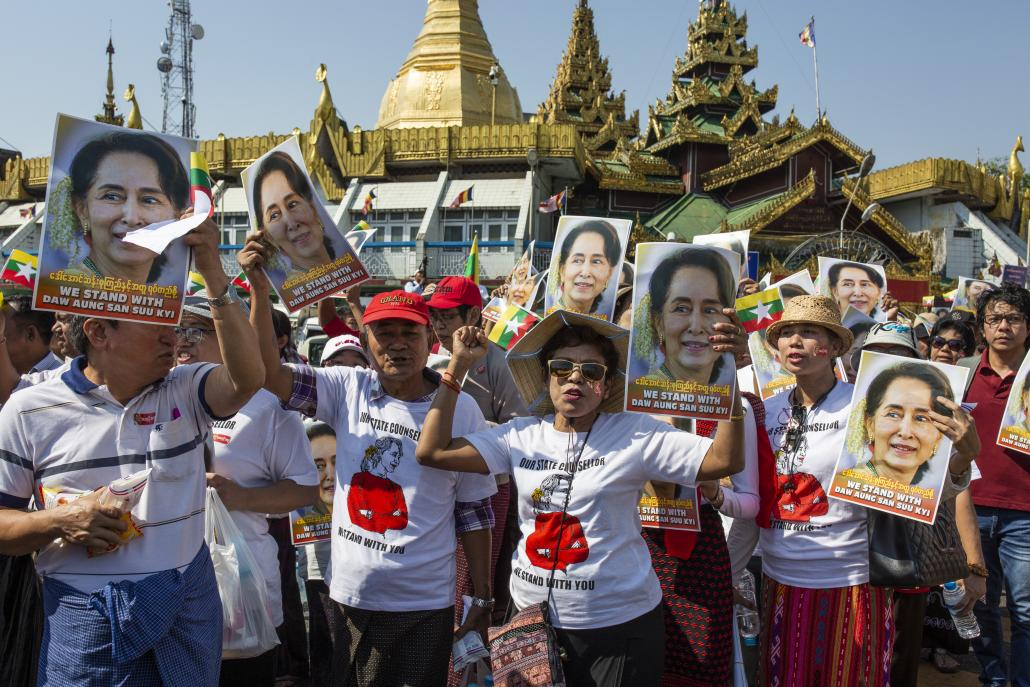 On Tuesday in Yangon, thousands marched in the streets before gathering at Maha Bandoola Park outside City Hall. (Hkun Lat | Frontier)