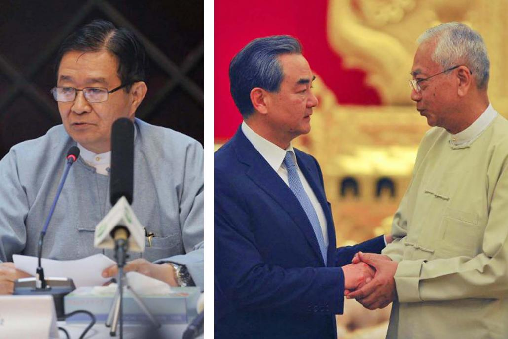 U Aung Min (left), Chinese foreign minister Wang Yi meets then President U Htin Kyaw, in November 2017. (AFP)