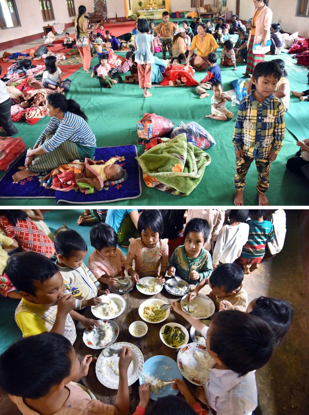 Children displaced by recent fighting in northern Shan State eat at a monastery in Kutkai Township. Thousands of civilians have sought refuge at monasteries in northern Shan State. (Steve Tickner | Frontier)