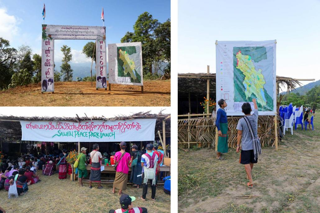 KNU-administered Mutraw District (top left) and a map of the Salween Peace Park on display at the launch event at Day Bu Noh village on December 18 (right) | Frontier