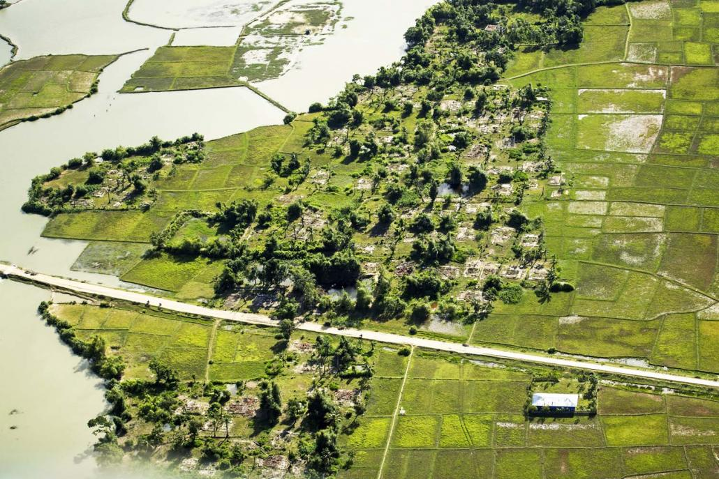 Burnt villages in Maungdaw Township, seen from a military helicopter providing a tour for British Foreign Secretary Mr Jeremy Hunt over northern Rakhine State on September 20, 2018. (AFP)