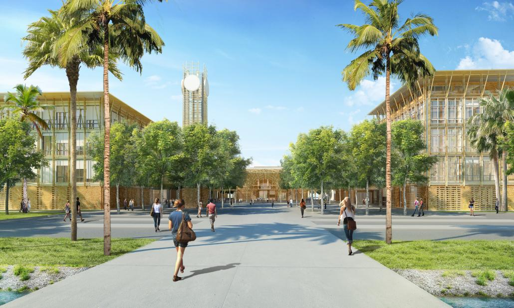 An artist's rendering of the planned Dulwich College Yangon campus at Star City in Thanlyin Township. (Supplied)