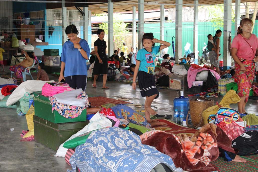 IDPs from Ziun Camp were sheltering at Ziun Kachin Baptist Church in Lay Gone ward. (Emily Fishbein | Frontier)