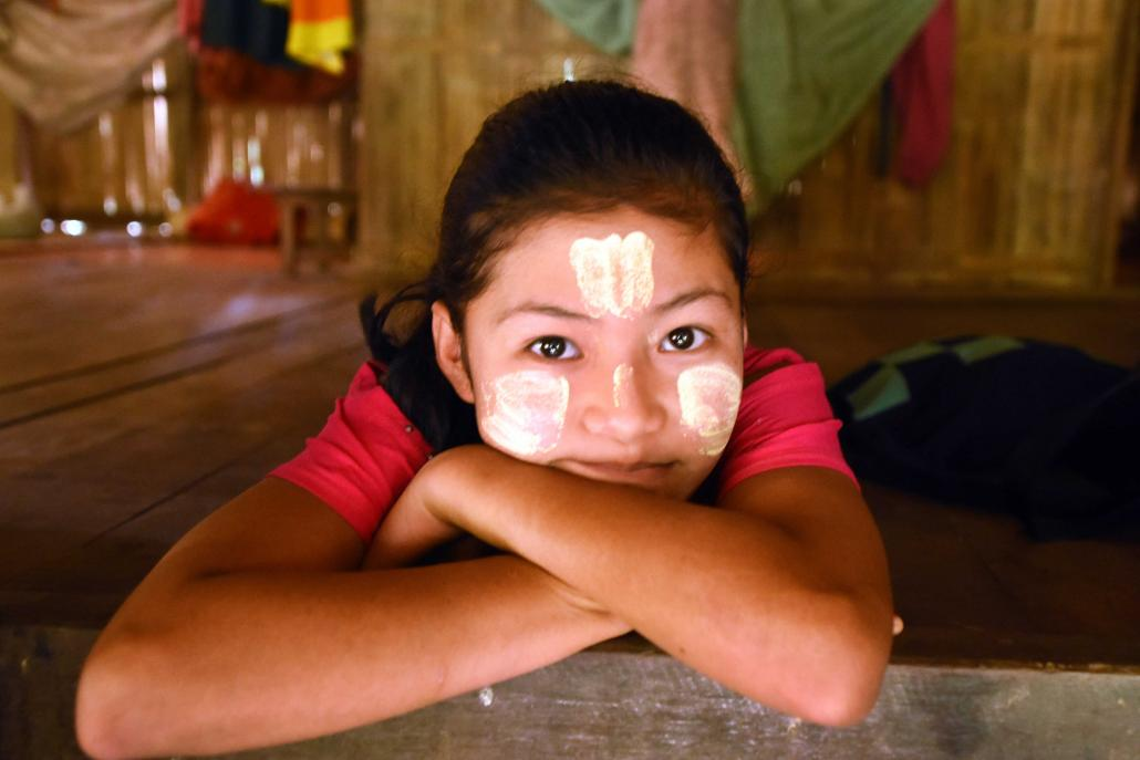 A Karen child at her home in Chaung Sone village, which is inside the proposed Lenya National Park in Bokpyin Township. (Steve Tickner | Frontier)