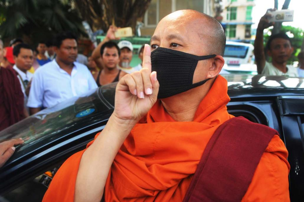 Ultra-nationalist monk U Wirathu, who has been accused of stoking anti- Muslim hatred, appears in Yangon in April 2017. (Steve Tickner | Frontier)