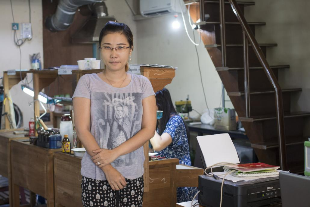 Ma Moh Moh Win is one of three women trainees taking part in a two-year goldsmithing course organised by NGO Turquoise Mountain (Nyein Su Wai Kyaw Soe | Frontier)