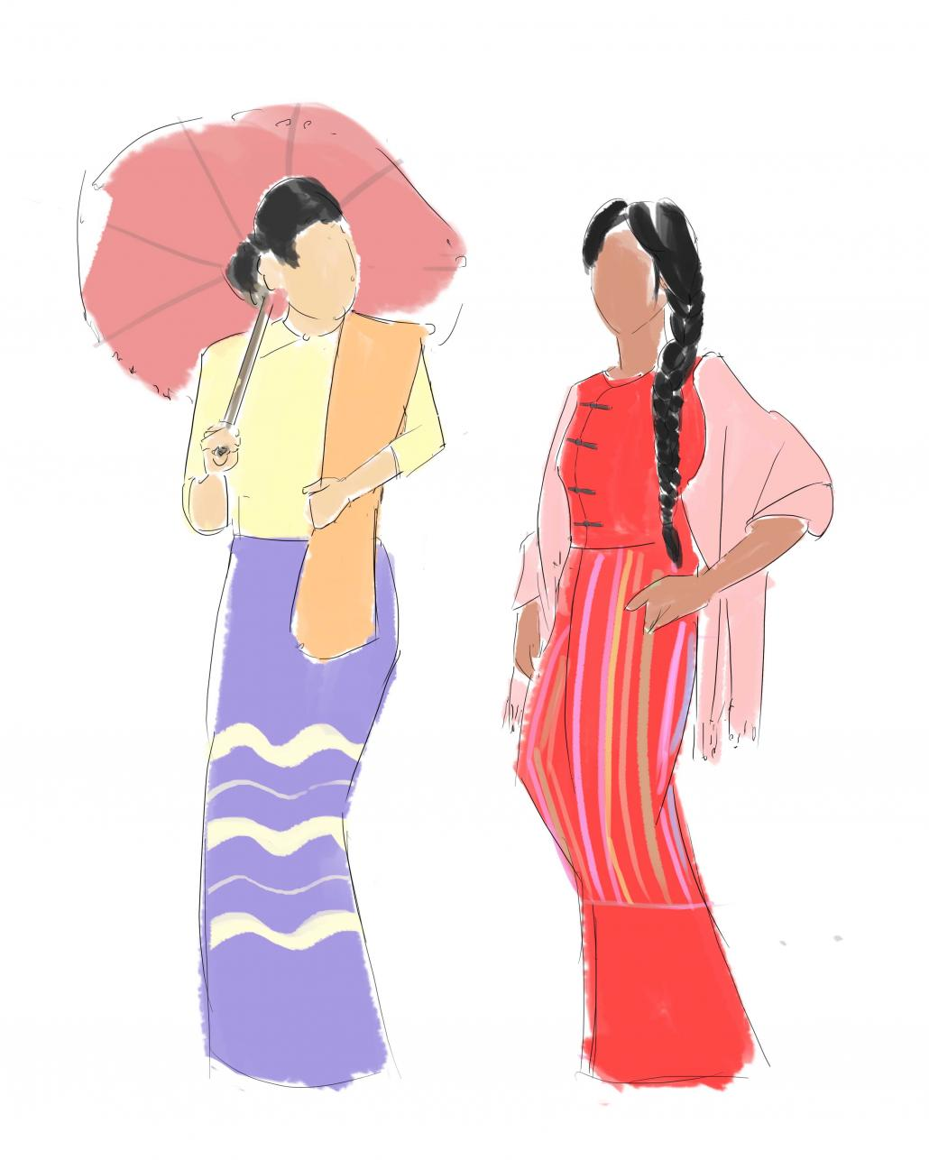 An outsider's guide to basic Myanmar's women's attire by Frontier Myanmar. (Illustration by Jared Downing | Frontier)