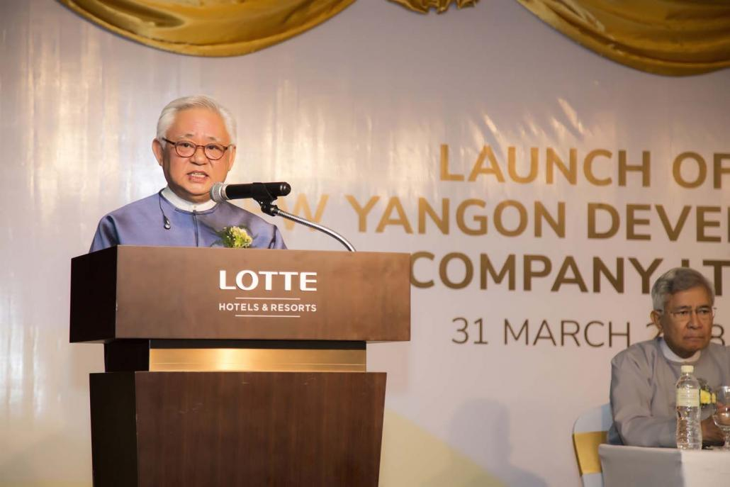 Mr Serge Pun speaks at the launch of the New Yangon City Development Co, Ltd on March 31. (Supplied)