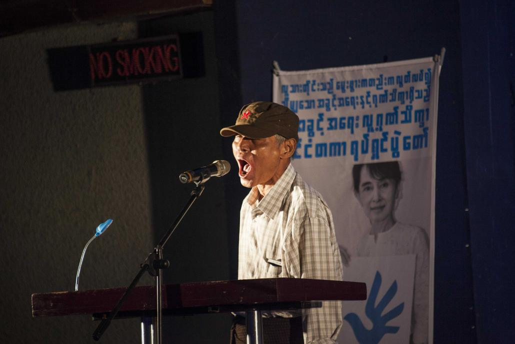 Aung Cheimt onstage at this year's Human Rights Human Dignity Film Festival. (Theint Mon Soe aka J | Frontier)