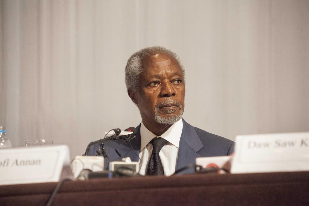 Kofi Annan, head of the Advisory Commission on Rakhine State, at the press conference to submit its final report in Yangon on August 24. (Theint Mon Soe aka J | Frontier)