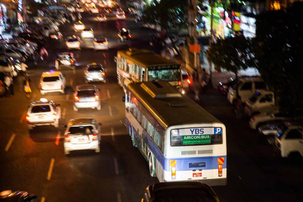 The Yangon Region government has launched an Android app to support the new Yangon Bus Service, which was introduced across the commercial capital on January 16. (Theint Mon Soe — J / Frontier)
