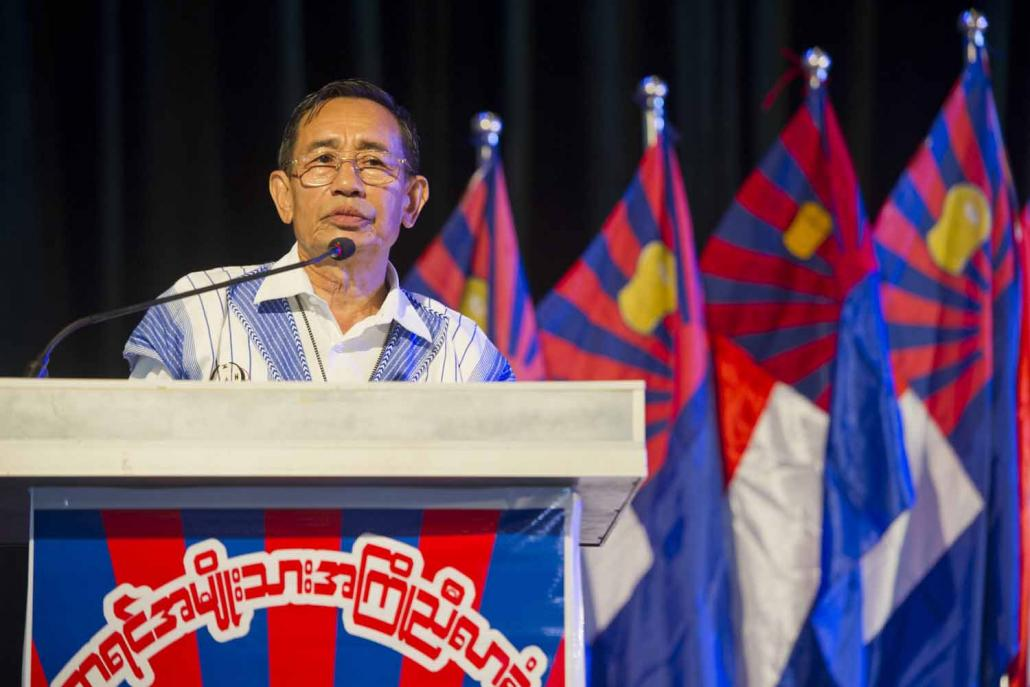 Karen National Union senior official Padoh Mahn Nyein Maung delivers an address ahead of the Karen Unity and Peace Committee conference in Yangon on July 2, 2015. (AFP)