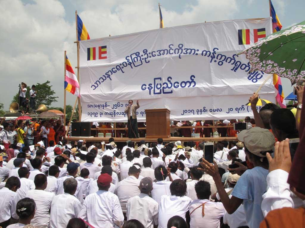 Former lawmaker 'Bullet' Hla Swe speaks at a nationalist rally in Nay Pyi Taw on May 20. (Nyan Hlaing Lynn | Frontier)