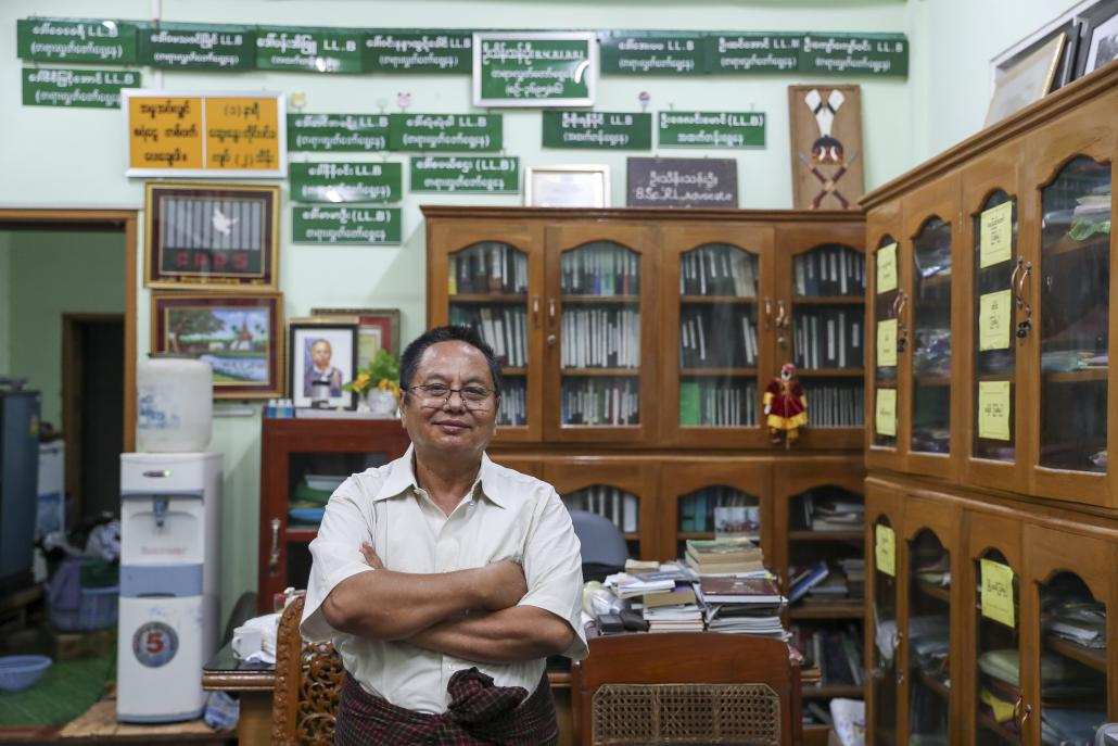 U Thein Than Oo, a Mandalay-based lawyer who is defending the trio jailed in the cannabis case. (Nyein Su Wai Kyaw Soe | Frontier)