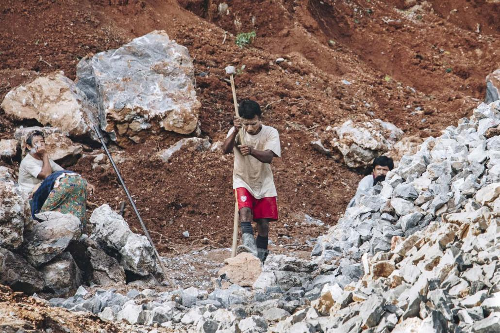 Residents of Lun Nya have used the mountain for small-scale quarrying for years but were alarmed when they learned it would be the source of large amounts of stone for the highway. (Nyein Su Wai Kyaw Soe | Frontier)