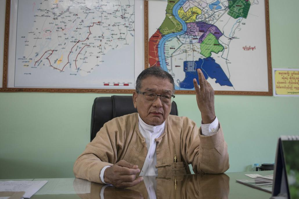 Former Ayeyarwady Region minister U Ba Hein in his office in Pathein Township on January 11, two days after he resigned. (Nyein Su Wai Kyaw Soe | Frontier)