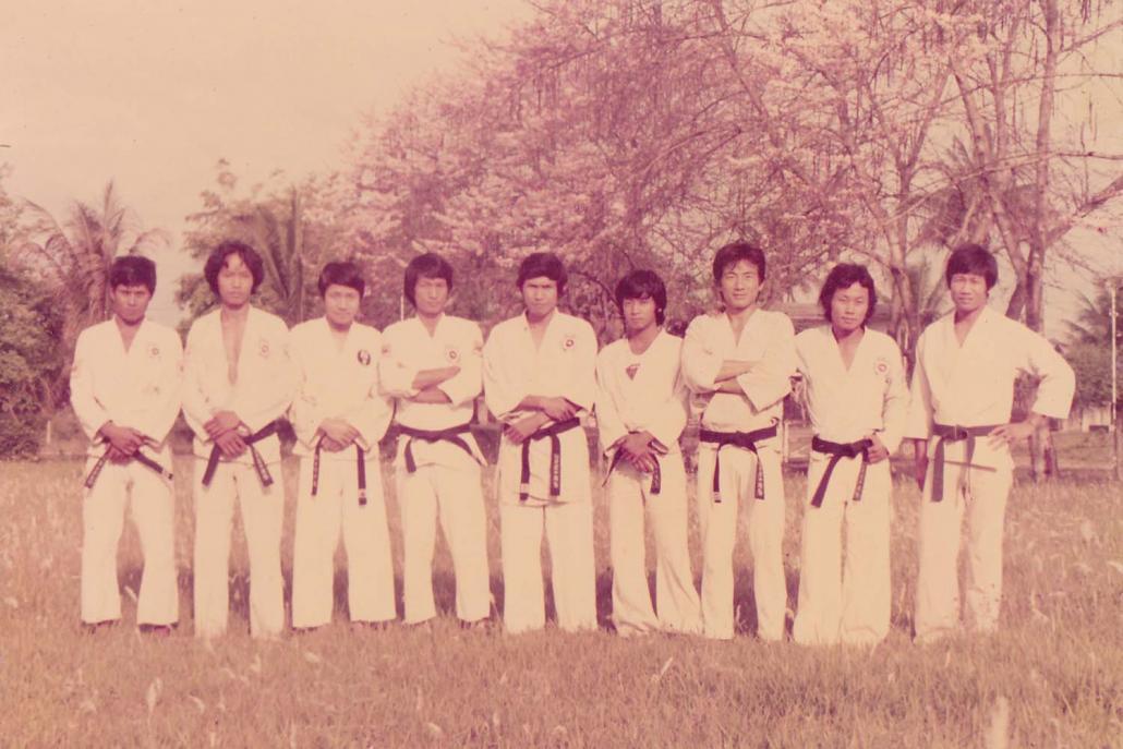 Sumlut Gun Shawng (far right) with some of his karate students in Myitkyina around 1979. (Supplied)