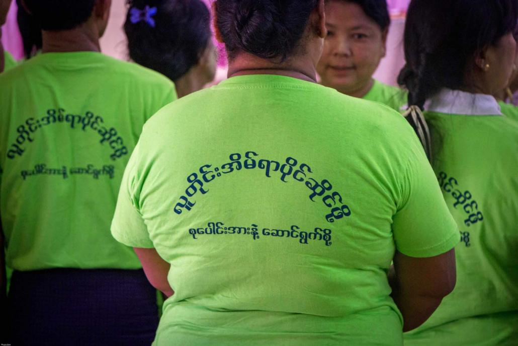 Members of the Women's Saving and Development Network, which was set up with support from Women for the World, at a press conference in North Okkalapa Township on November 20. (Thuya Zaw | Frontier)