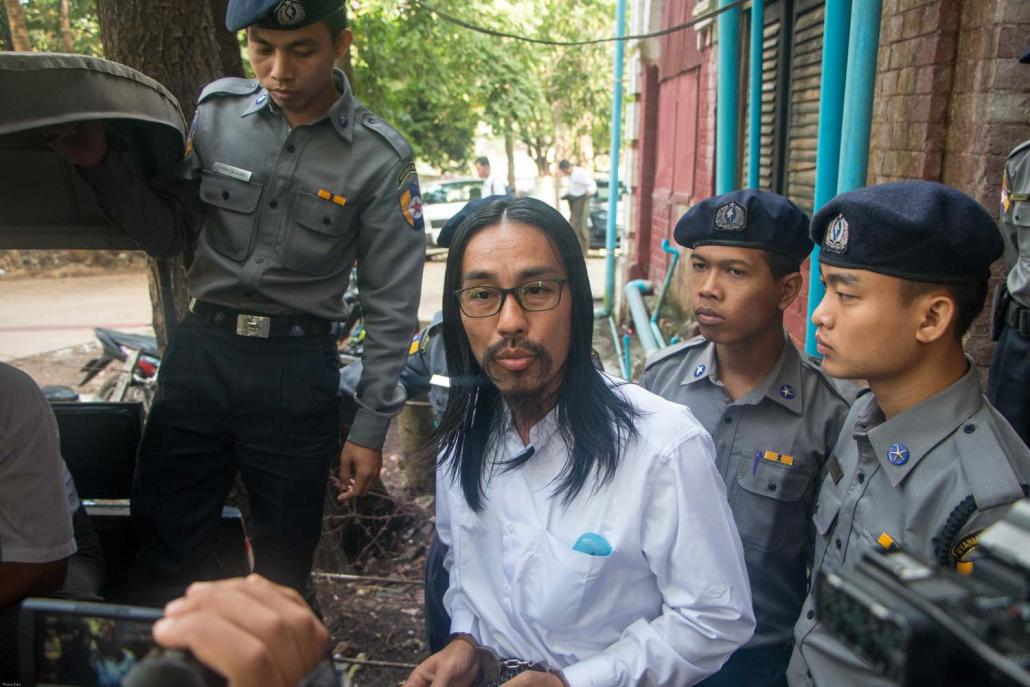 Defendant U Zeyar Phyo appears at a hearing at Yangon Northern District Court on January 10. (Thuya Zaw | Frontier)