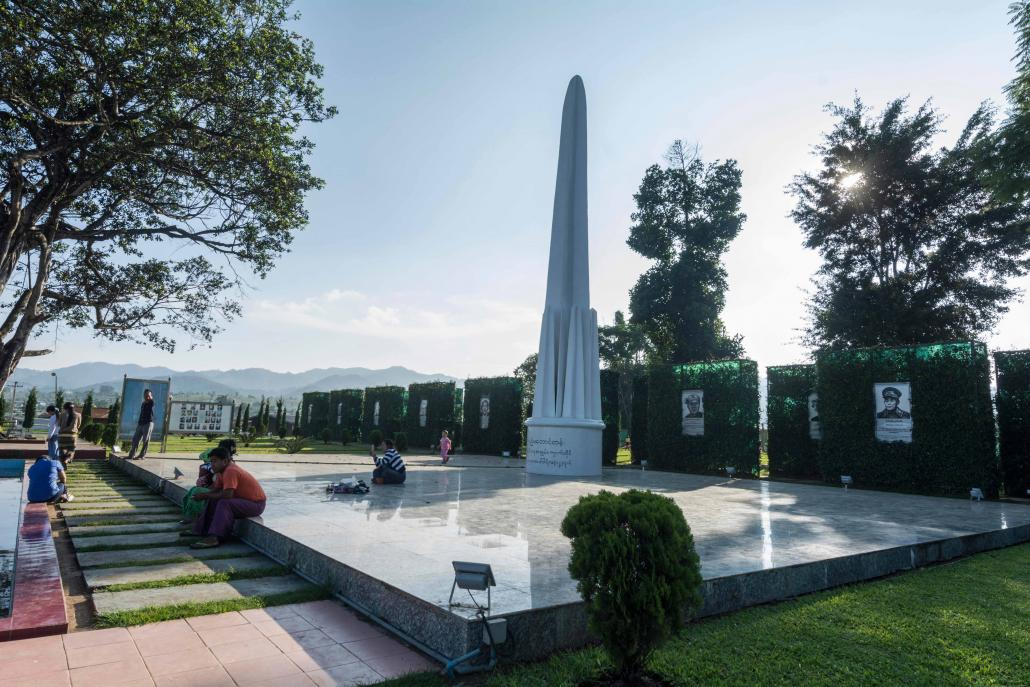 A monument in Panglong, Shan State, that commemorates the landmark Panglong Agreement in 1947. (Teza Hlaing / Frontier)