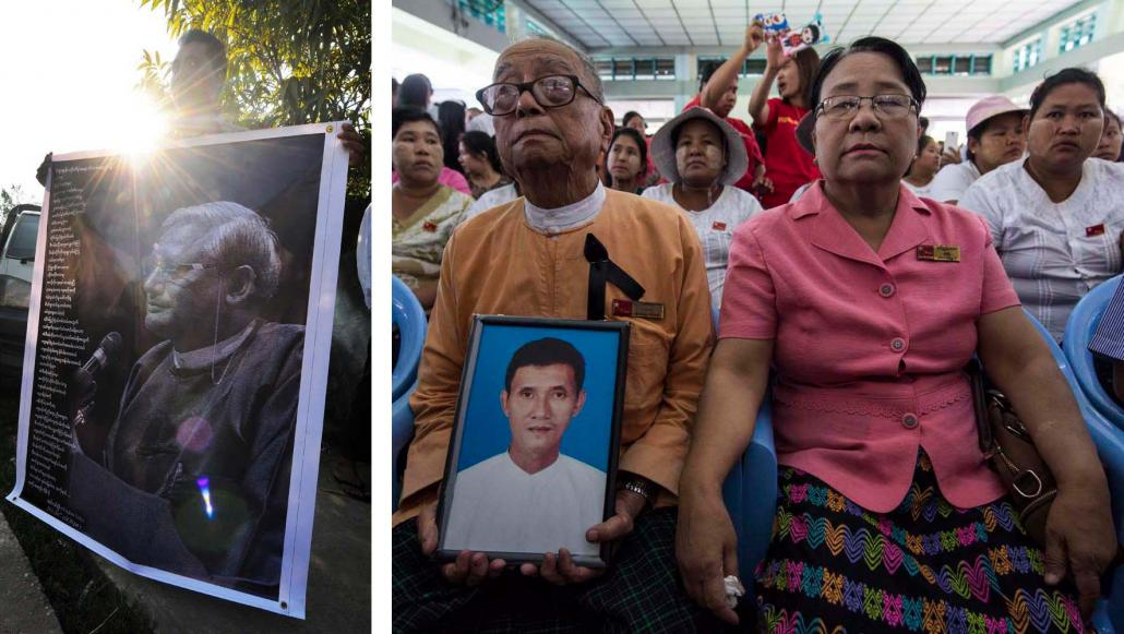 Mourners hold pictures depicting slain lawyer U Ko Ni and taxi driver U Nay Win at their funerals in Yangon. (Steve Tickner | Frontier)