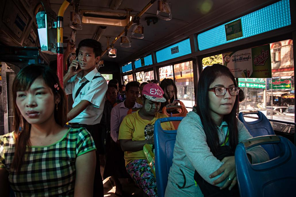 Myanmar women are sometimes targeted while riding public transport. (Lauren DeCicca / Frontier)