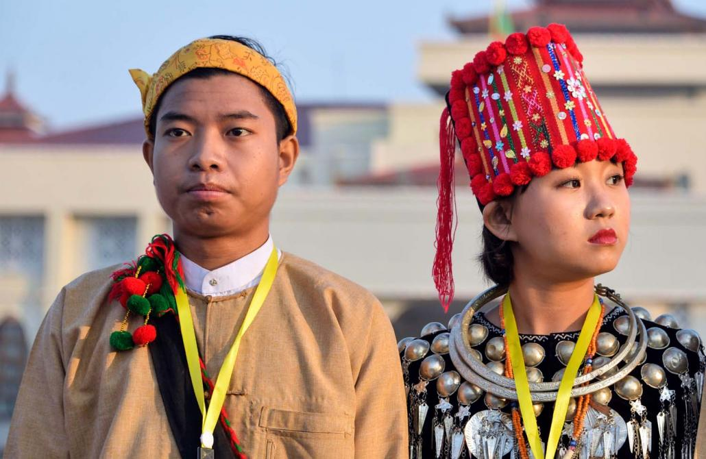 A man and woman in Jinghpaw dress attend a Union Day event in Nay Pyi Taw on February 12, 2019. (AFP)