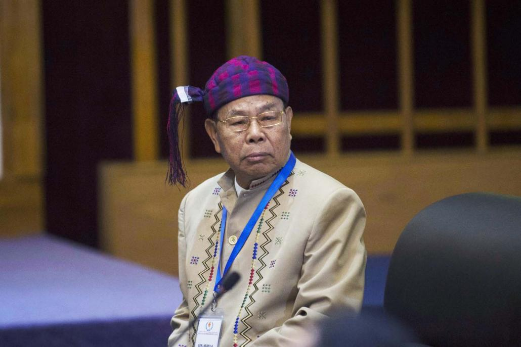 The Kachin Independence Organisation's General N'Ban La seen at peace talks at the National Reconciliation and Peace Centre in Yangon on July 17, 2016. (AFP)