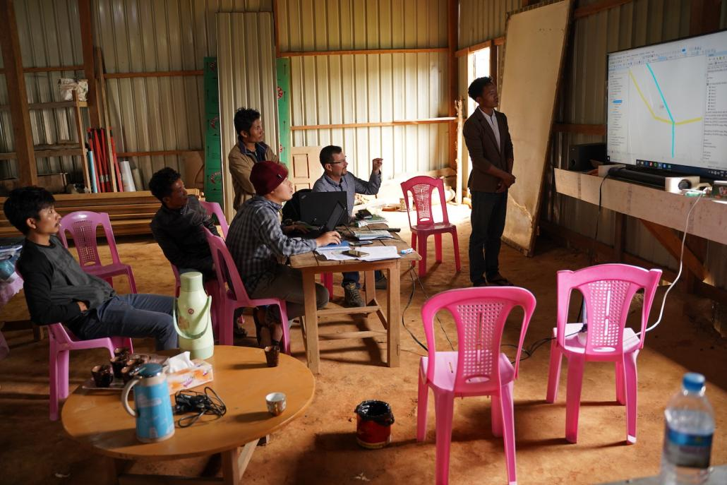 Mr Geoff Hodgson talks with representatives of local civil society organisations during a visit to Leshi in the Naga Self-Administered Zone to map customary lands for the OneMap Myanmar project. (Supplied)