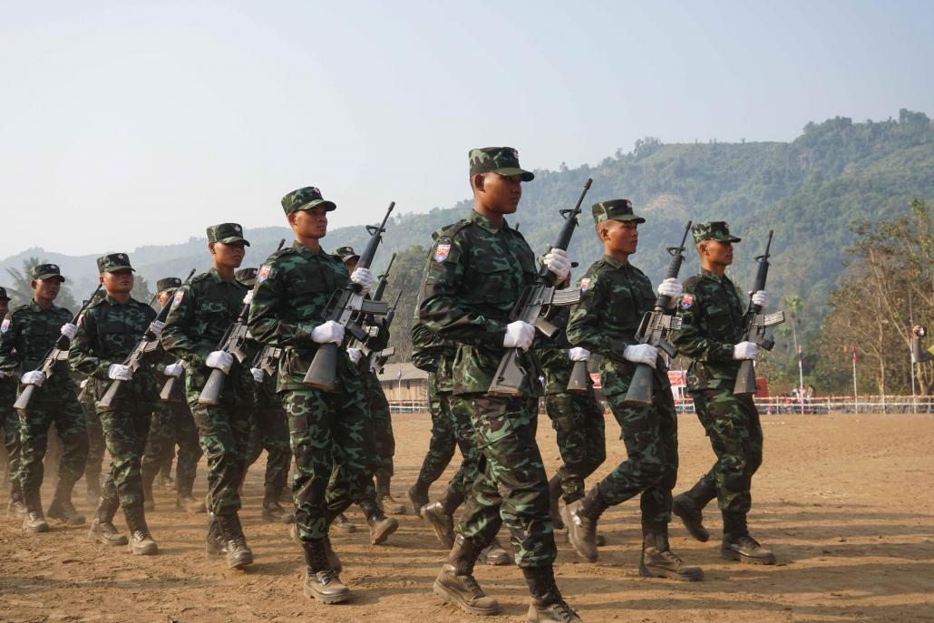 Karen National Liberation Army soldiers parade on Karen Revolution Day in Day Bu Noh. (Vincenzo Berezini | Frontier)