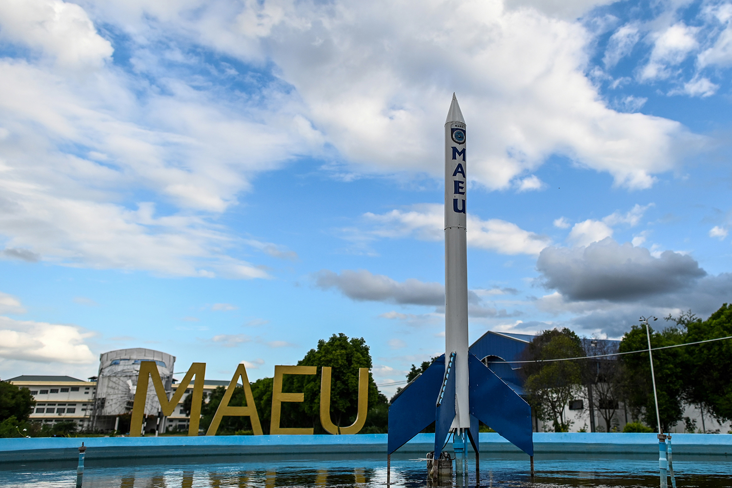 A mock rocket is displayed on the campus of the Myanmar Aerospace Engineering University in Meiktila. (AFP)