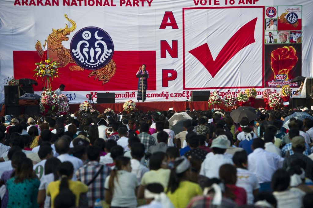 An Arakan National Party election rally in Yangon draws Rakhine residents of the commercial capital on October 25, 2015. (AFP)