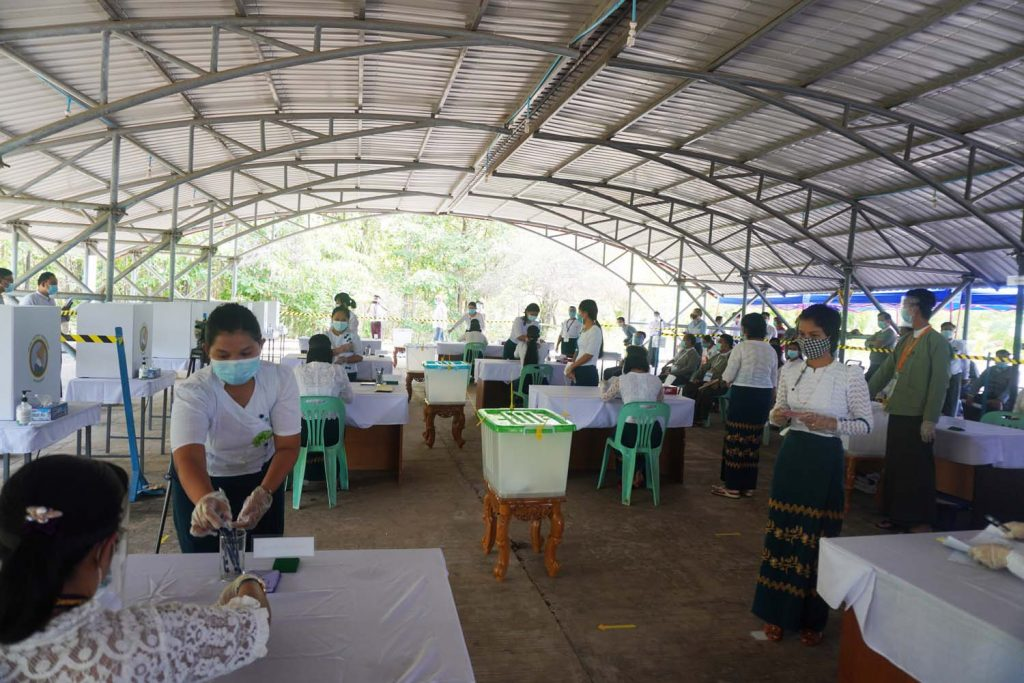 The Union Election Commission rehearses a socially distanced polling station in Nay Pyi Taw on June 12. (Supplied)