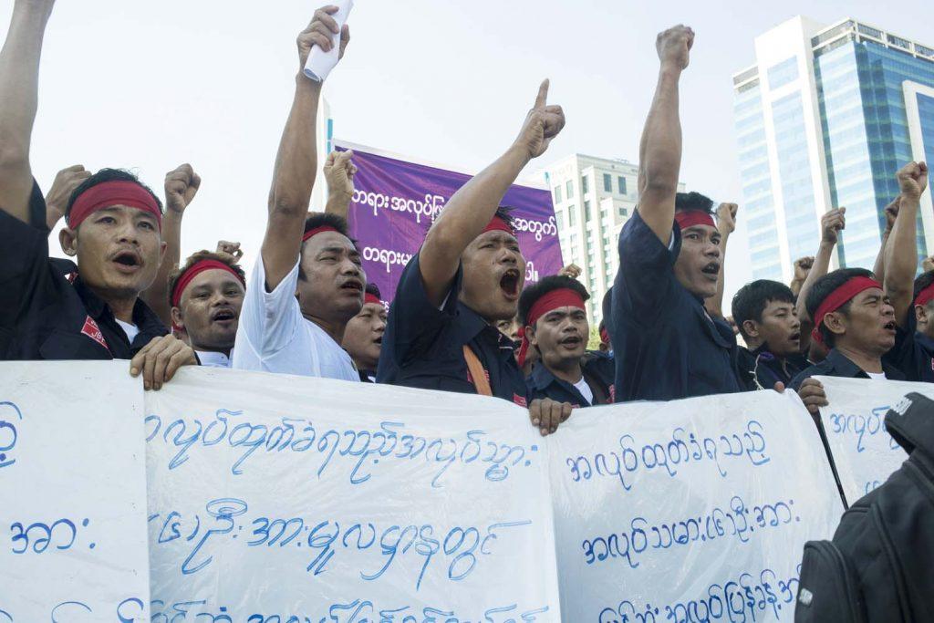 A labour demonstration in downtown Yangon in October 2019. (Nyein Su Wai Kyaw Soe | Frontier)