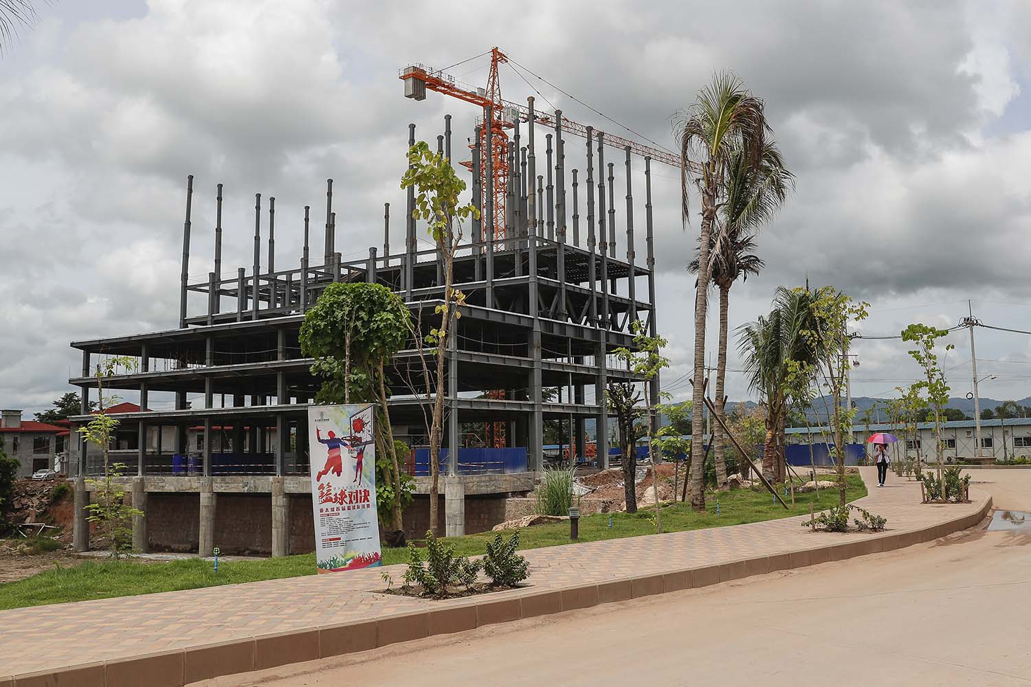 A building not included in Myanmar Yatai's MIC permit is under construction at Shwe Kokko in July 2019. (Nyein Su Wai Kyaw Soe | Frontier)