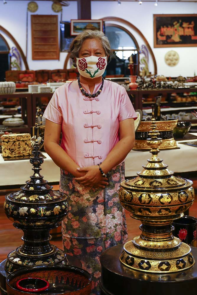 Daw Maw Maw Aung, the owner of Bagan House Lacquerware, which has switched to producing face masks that are sold on Facebook. (Nyein Su Wai Kyaw Soe | Frontier)