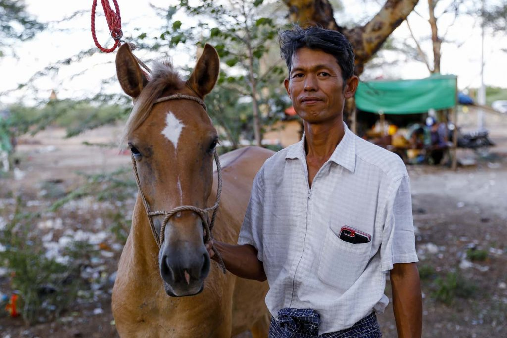 Secretary of the Bagan coachmen's group U Tin Aung Moe has driven a horse-drawn carriage for 24 years but stopped work in March and sold one of his two horses to make ends meet. (Nyein Su Wai Kyaw Soe | Frontier)