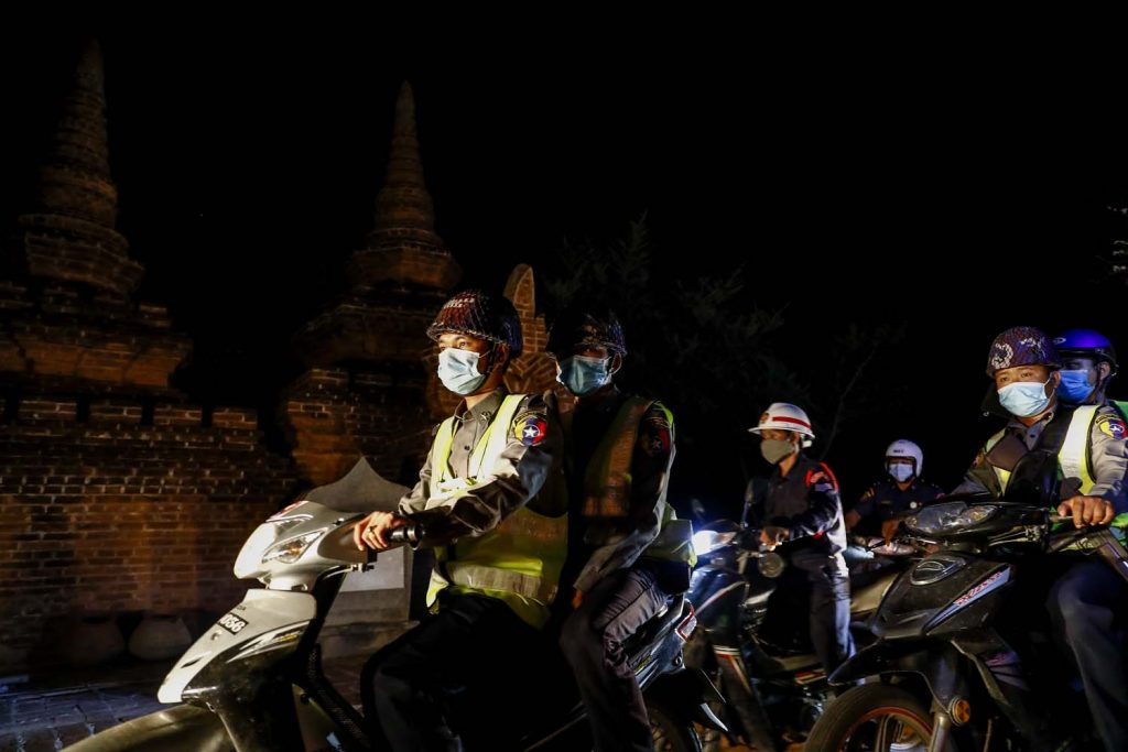 Security forces patrol the heritage zone day and night. (Nyein Su Wai Kyaw Soe | Frontier)