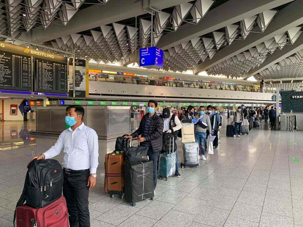 Myanmar seamen prepare to board a relief flight home in Germany's Frankfurt Airport on June 3. (Supplied)