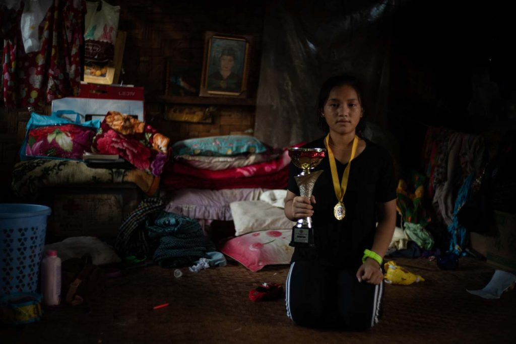 Seng Nu fled her village of Ta Law Gyi in 2011. Living at the Shwe Zet IDP camp (pictured) in Myitkyina, she has acquired a black belt in karate and competed in Singapore and Japan. (Hkun Li | Frontier)