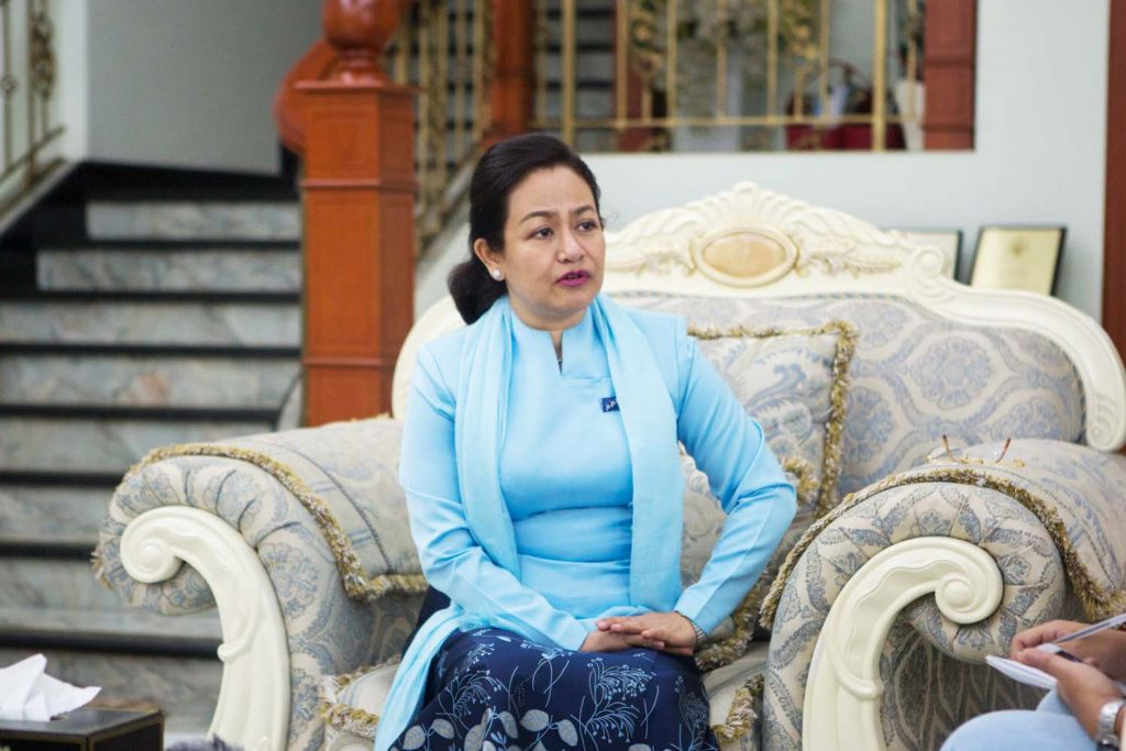 People's Pioneer Party leader Daw Thet Thet Khine talks to Frontier on June 25. (Thuya Zaw | Frontier)