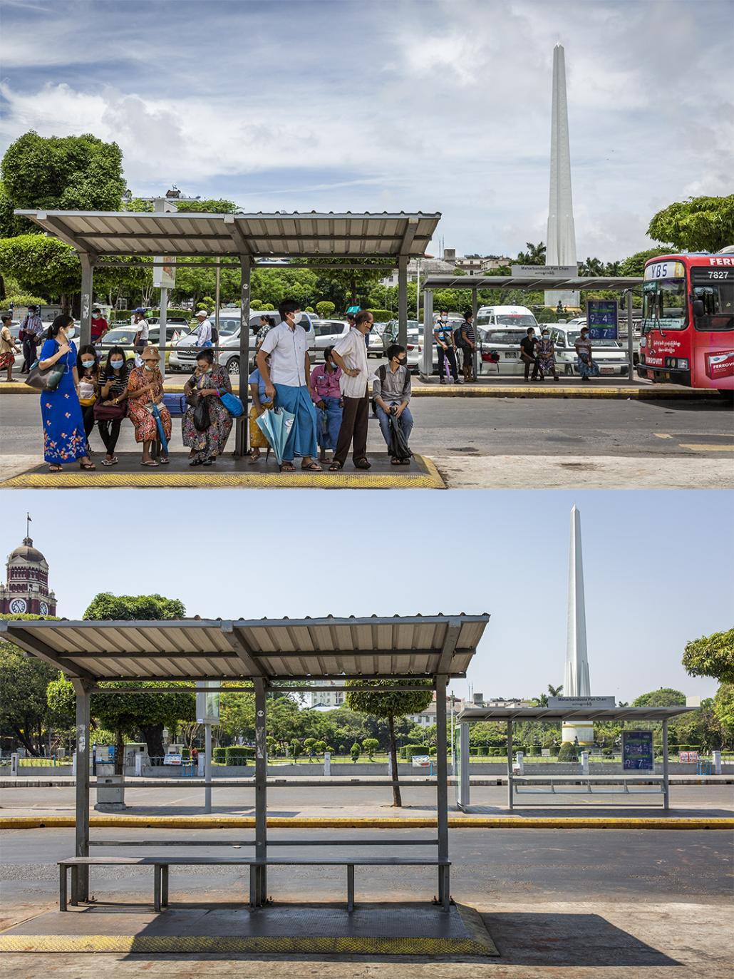 A bus stop on Mahabandoola Road in downtown Yangon, with Mahabandoola Park in the background, on June 10 and April 12. (Hkun Lat | Frontier)