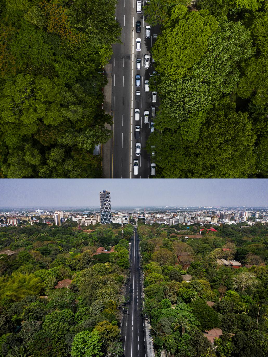 University Avenue in Kamaryut Township on June 12 and April 13 (Hkun Lat | Frontier)