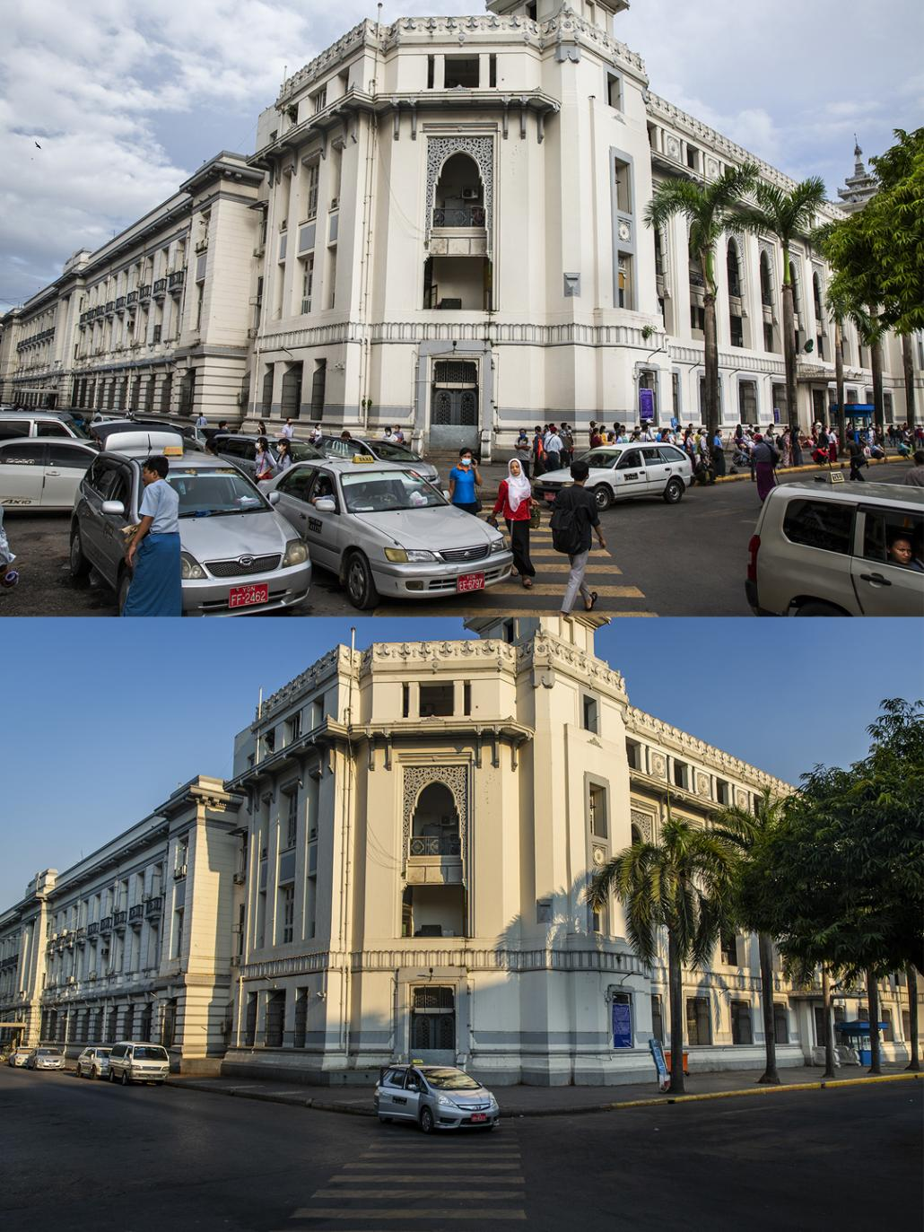 An empty sidewalk of Yangon City Hall in Sule Pagoda road, downtown Yangon on June 12 and April 12. (Hkun Lat I Frontier)(Hkun Lat | Frontier)