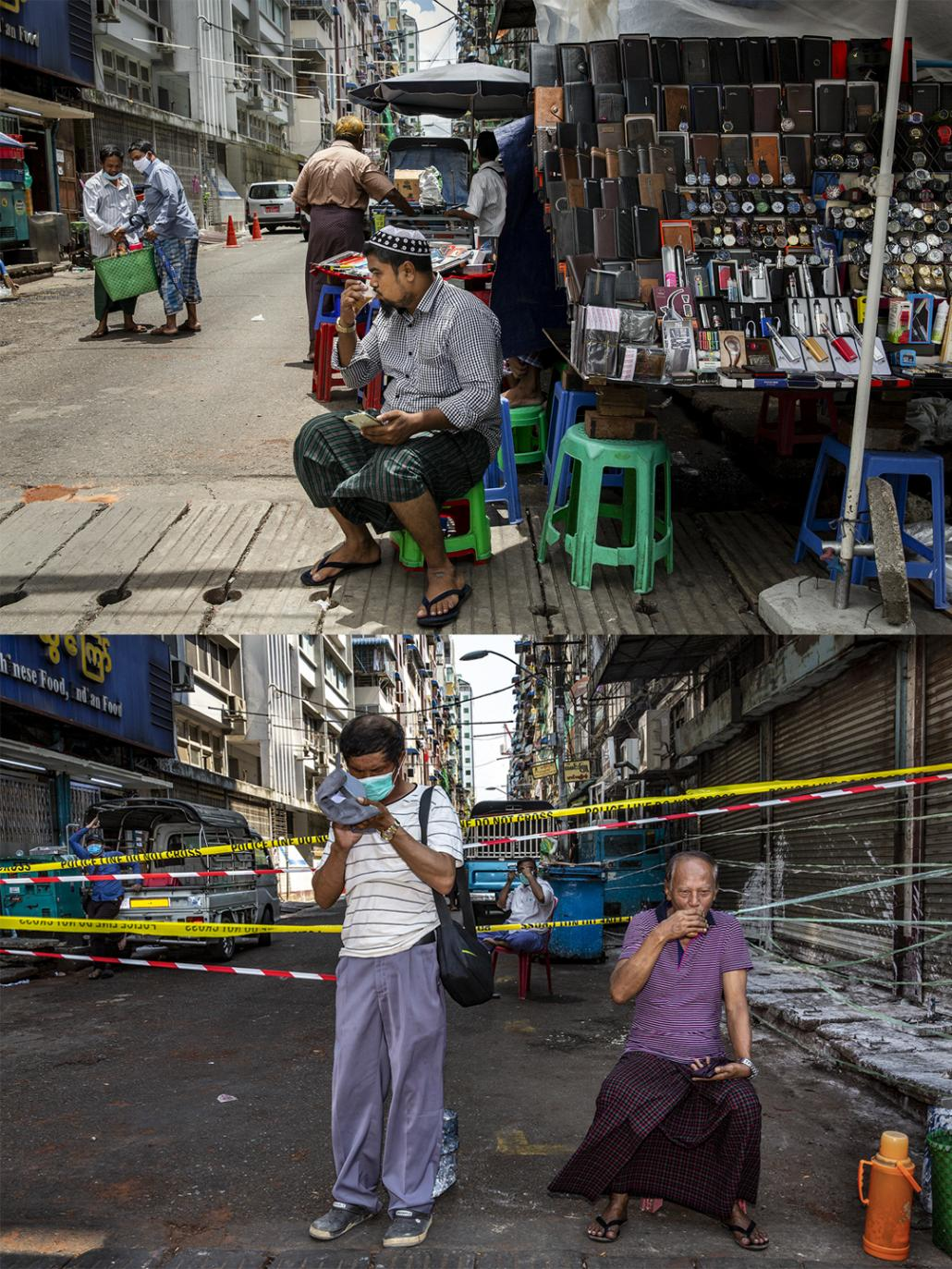 A narrow residential street in downtown Yangon's Pabedan Township on June 10 and April 21, when it was under lockdown. (Hkun Lat | Frontier)